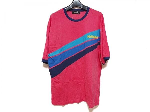 ディースクエアード 半袖Tシャツ サイズS メンズ ピンク×ネイビー×マルチ