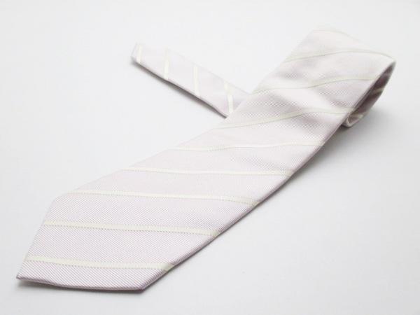 E.FORMICOLA(エリコ フォルミコラ) ネクタイ メンズ 白×パープル 斜めストライプ