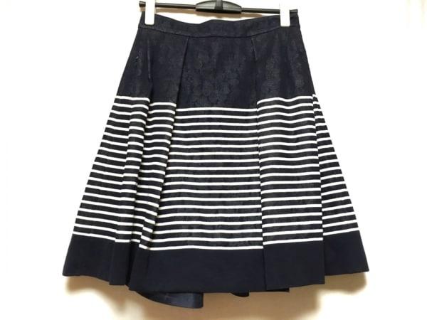 エルマノシェルビーノ スカート サイズ42 L レディース美品  - - ネイビー×白