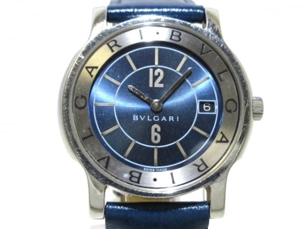 BVLGARI(ブルガリ) 腕時計 ソロテンポ ST35S レディース SS/革ベルト ネイビー