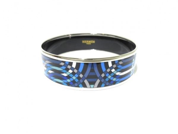 HERMES(エルメス) バングル美品  エマイユ 金属素材 シルバー×ブルー×マルチ