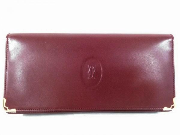 Cartier(カルティエ) 長財布美品  マストライン ボルドー×ゴールド レザー×金属素材