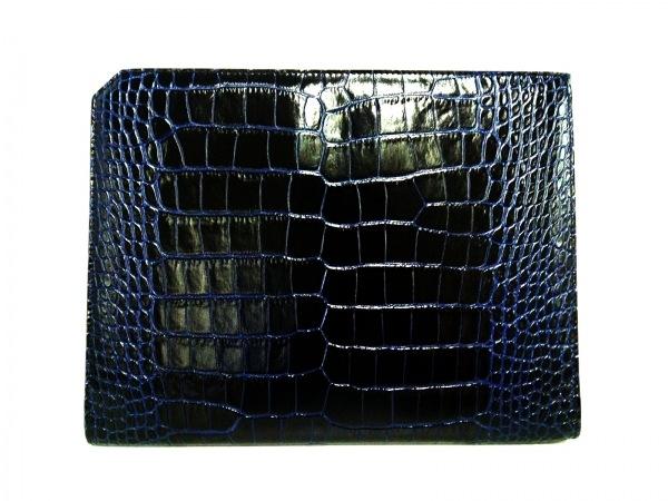 JIMMY CHOO(ジミーチュウ) セカンドバッグ - 黒×ブルー 型押し加工 レザー