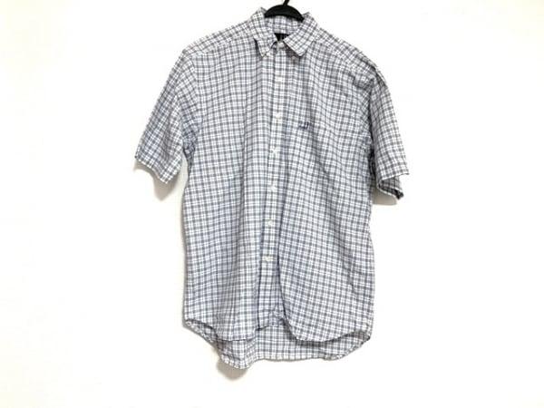 ダンヒル 半袖シャツ サイズL メンズ 白×ネイビー×ブルー チェック柄