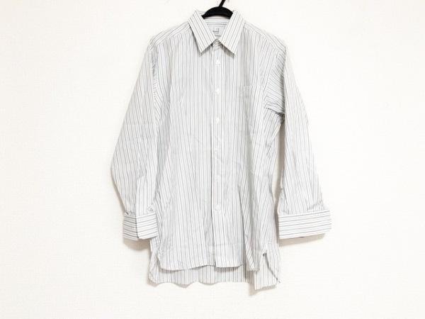 ダンヒル 長袖シャツ メンズ 白×グレー×ネイビー ストライプ