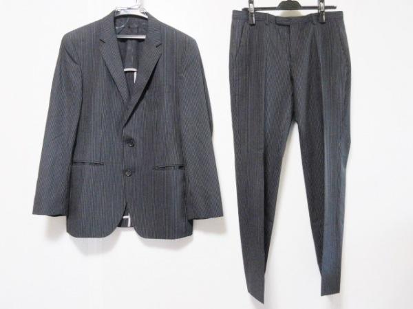 HUGOBOSS(ヒューゴボス) シングルスーツ サイズIT46 メンズ 黒×グレー ストライプ