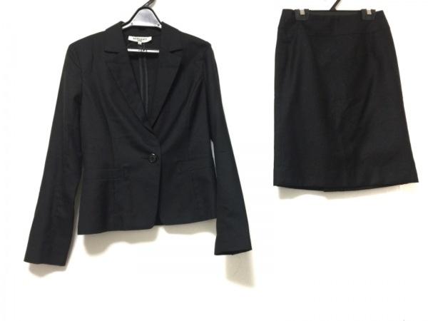 ナチュラルビューティー ベーシック スカートスーツ レディース 黒 肩パッド/シルク混