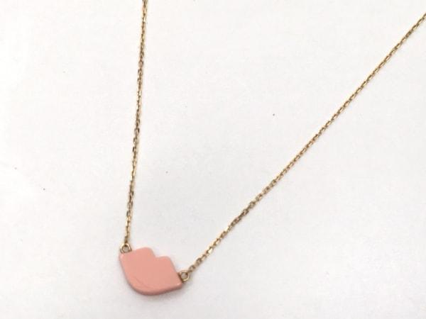AHKAH(アーカー) ネックレス美品  K18YG×樹脂加工石 ピンク リップ