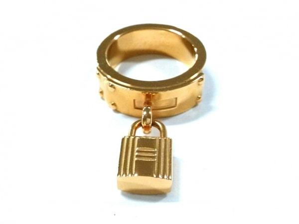 エルメス スカーフリング美品  ケリー 金属素材×レザー ゴールド×ダークブラウン