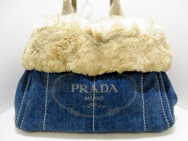 PRADA(プラダ) トートバッグ CANAPA BN2182 ネイビー×ベージュ×アイボリー 革タグ
