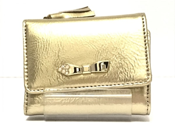 LANVIN(ランバン) 3つ折り財布美品  ゴールド レザー