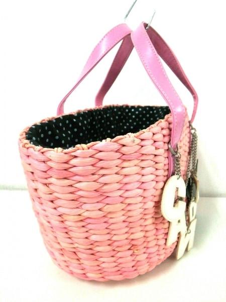 キャンディストリッパー ハンドバッグ ピンク かごバッグ 天然繊維×合皮