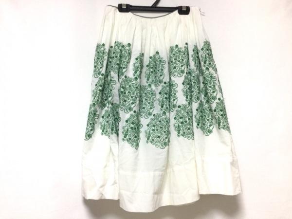 ミナペルホネン スカート サイズ38 M レディース 白×ダークグリーン