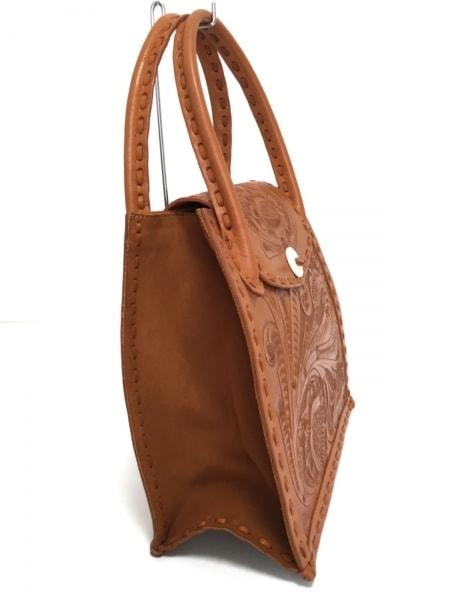 Carving Tribes(カービングトライブス) ハンドバッグ美品  ライトブラウン 型押し加工