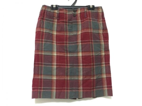 ラルフローレン スカート サイズ9 M レディース レッド×グレー×マルチ チェック柄
