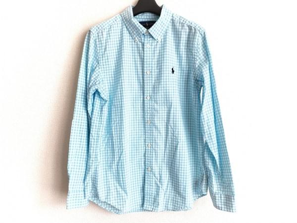 ラルフローレン 長袖シャツ サイズXL メンズ ライトブルー×白 チェック柄