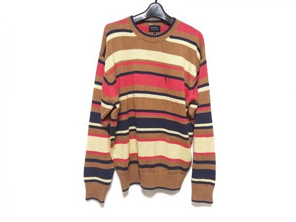 パーリーゲイツ 長袖セーター サイズ3 L メンズ ブラウン×アイボリー×マルチ