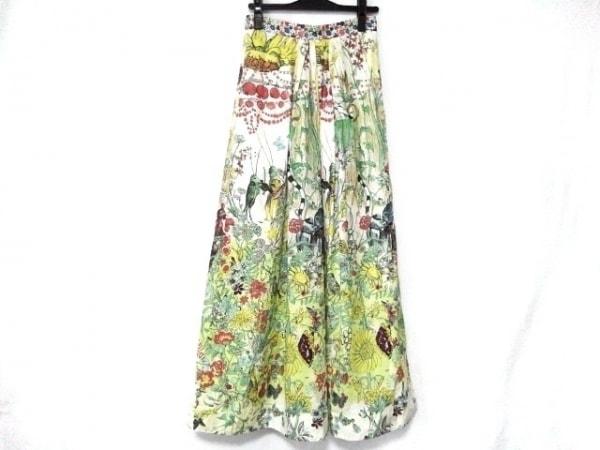 ツモリチサト ロングスカート サイズ2 M レディース美品  白×ライトグリーン×マルチ