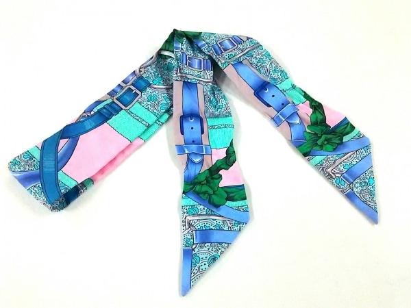 エルメス スカーフ美品  ツィリー H063065S ローズペール×ターコイズ×パルム