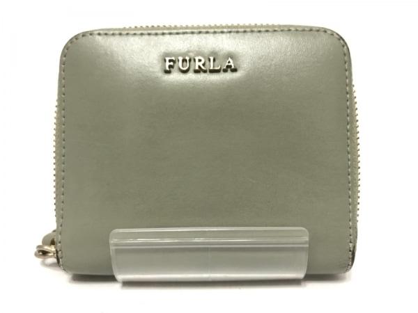 FURLA(フルラ) 2つ折り財布 グレー ラウンドファスナー レザー