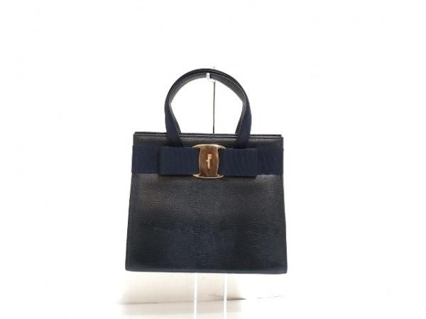 サルバトーレフェラガモ ハンドバッグ ヴァラ 黒×ネイビー 型押し加工/リボン