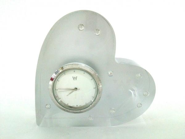 ウェッジウッド 小物美品  クリア×シルバー ハート/置時計(動作確認できず)