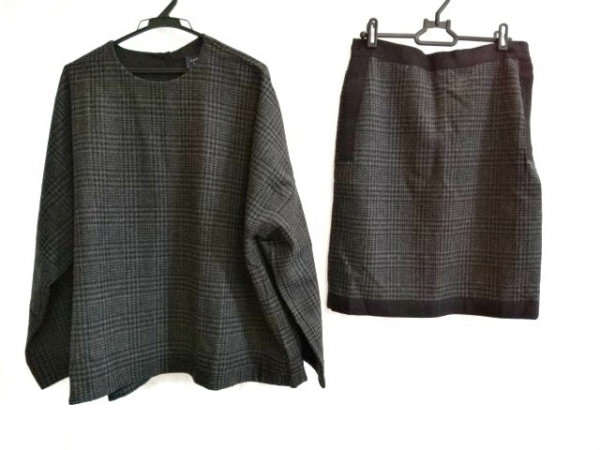 LANVIN(ランバン) スカートセットアップ サイズT 2 レディース 黒×グレー チェック柄