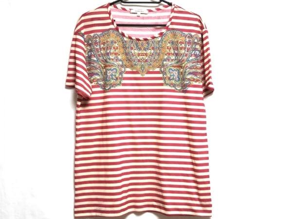 カルヴェン 半袖Tシャツ サイズM レディース レッド×アイボリー×マルチ ボーダー