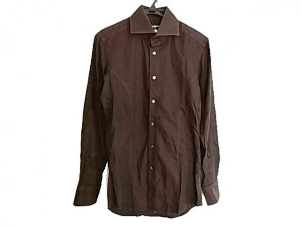 ドルチェアンドガッバーナ 長袖シャツ サイズ38 M メンズ 黒×ダークブラウン