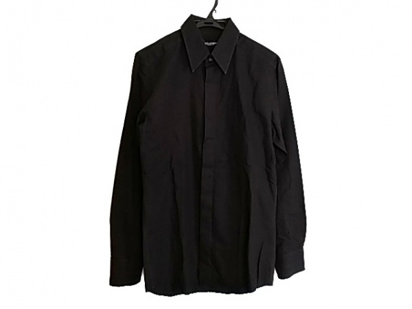 DOLCE&GABBANA(ドルチェアンドガッバーナ) 長袖シャツ サイズ39 メンズ 黒 ストライプ