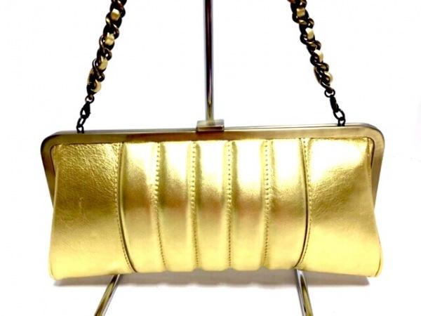selvedge(セルヴィッジ) クラッチバッグ美品  ゴールド レザー