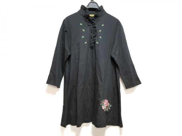 FEILER(フェイラー) チュニック サイズL レディース美品  黒×レッド×マルチ 刺繍