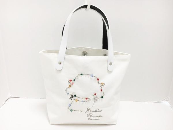 ピッコーネ ハンドバッグ 白 ビジュー/ビーズ/刺繍 キャンバス×PVC(塩化ビニール)
