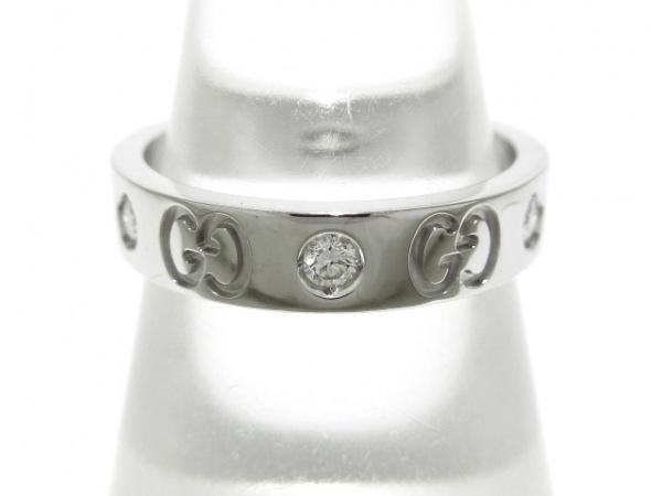 GUCCI(グッチ) リング 11美品  アイコンリング K18WG×ダイヤモンド 6Pダイヤ