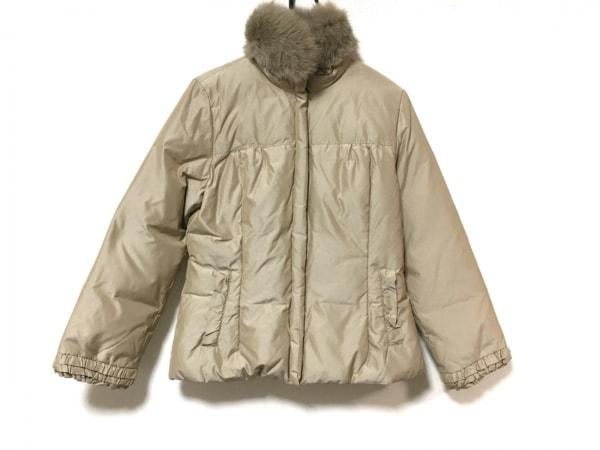 フランコフェラーロ ダウンジャケット サイズ3 L レディース美品  ベージュ ファー
