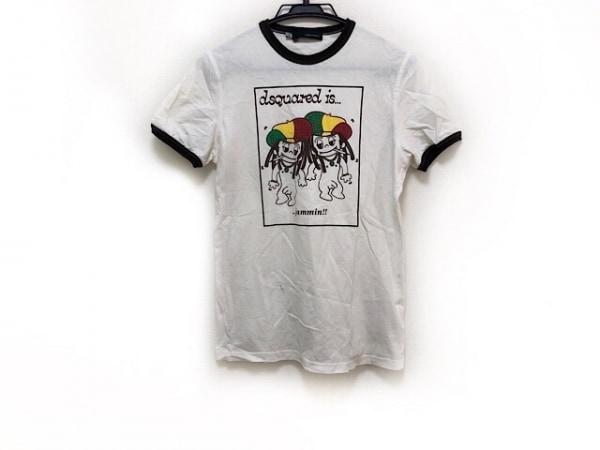 ディースクエアード 半袖Tシャツ サイズS メンズ美品  白×ダークブラウン×マルチ