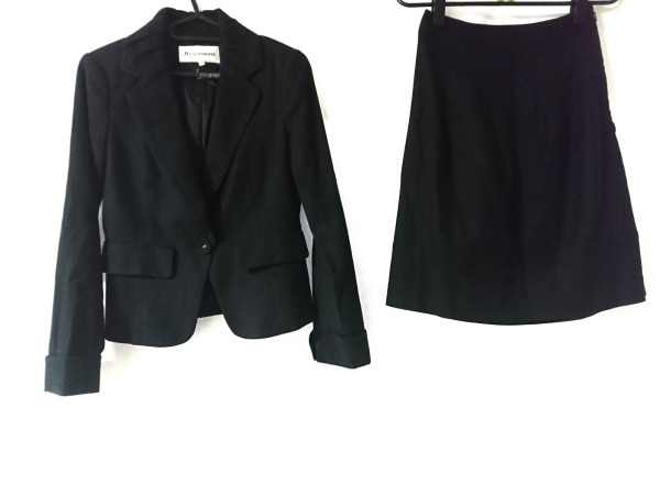 ジャスグリッティー スカートスーツ サイズ1 S レディース美品  黒 肩パッド