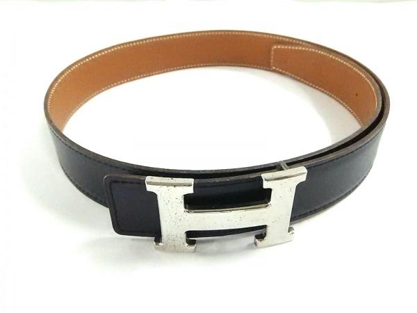 HERMES(エルメス) ベルト 75 Hベルト 黒×ブラウン×シルバー 新型金具/リバーシブル