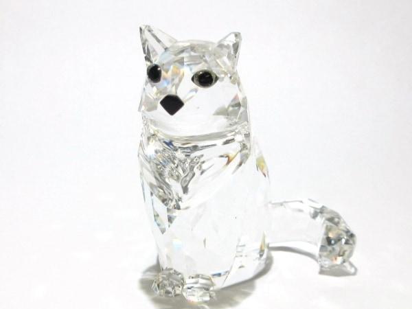 SWAROVSKI(スワロフスキー) 小物美品  クリア ネコ/置物 スワロフスキークリスタル