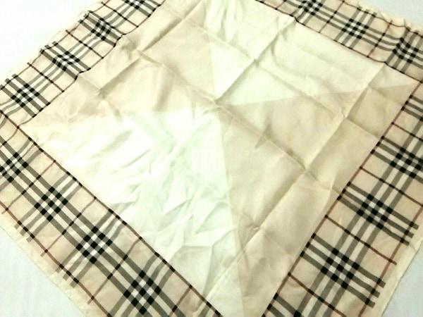 バーバリーロンドン スカーフ美品  ベージュ×アイボリー×黒×マルチ チェック柄