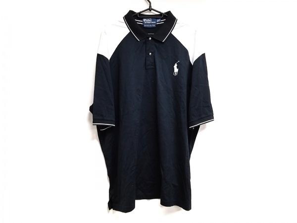 ポロラルフローレン 半袖ポロシャツ サイズXXL XL メンズ 黒×アイボリー