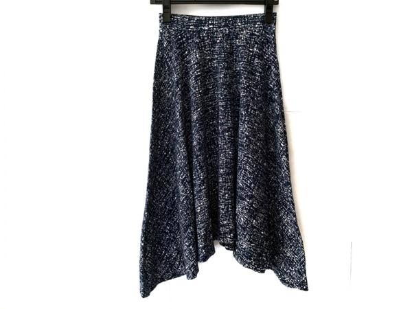 three dots(スリードッツ) スカート サイズXS レディース ネイビー×白