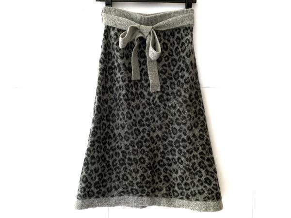 スリードッツ スカート サイズS レディース美品  グレー×ダークグレー 豹柄/ニット