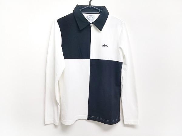 キャロウェイ 長袖ポロシャツ サイズL レディース美品  黒×アイボリー GOLF