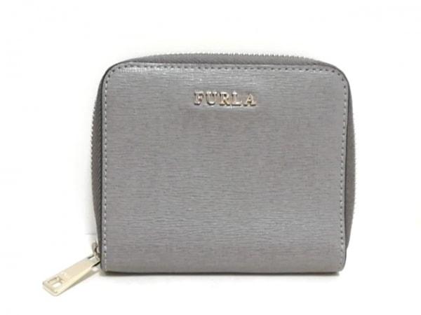 FURLA(フルラ) 2つ折り財布美品  グレー ラウンドファスナー レザー