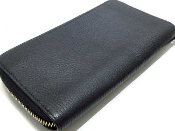 GUCCI(グッチ) 長財布美品  ダブルG 449347 黒 ラウンドファスナー レザー