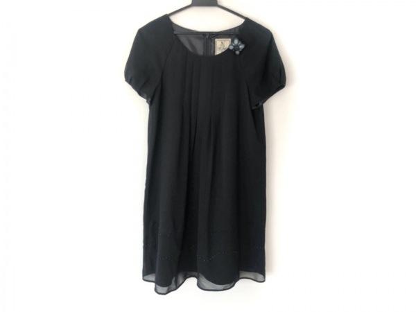 ホコモモラ ワンピース サイズ40 XL レディース美品  黒×ブルー フラワー