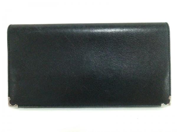 カルティエ 長財布 カボション 黒×シルバー レザー×金属素材 1