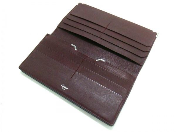 カルティエ 長財布 カボション 黒×シルバー レザー×金属素材 3