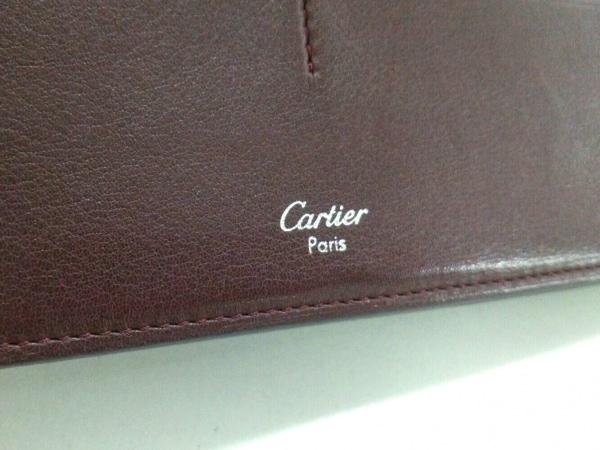 カルティエ 長財布 カボション 黒×シルバー レザー×金属素材 5